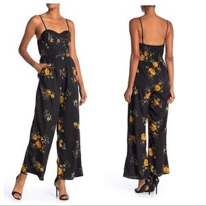 Band of Gypsies Floral Sweetheart Jumpsuit Black